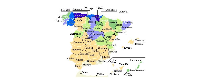 Mapa de horas de radiación solar en España